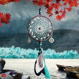 Green Beads Dream Catcher Wind Chimes Lace Style Feather Pendant Ornaments Handmade Dream Catcher  Jewelry Pendant Car Home Decoration Crafts Gifts