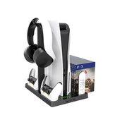 Support de stockage de base de refroidissement hôte PS5 Poignée PS5 Support de stockage de casque à deux places avec disque