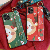 MEKS Christmas Cartoon Deer Pattern Plating with Lanyard Wrist Strap Bracket Shockproof TPU Protective Case for iPhone 11 / 11 Pro Max / 11 Pro / XR / XS MAX / 6 / 6S / 7 / 8 / 7 Plus / 8 Plus