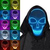 Halloween Skeleton Máscara LED Scary EL-Wire Máscara Light Up Festival Cosplay Costume Supplies Party Máscara