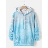 Mens Tie-Dye Print Drawstring Pullover Hoodie With Kangaroo Pocket