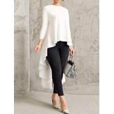 Women Long Sleeve Crew Neck High Low Hem Solid Blouse