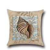 Conch Seahorse Seashell Cushion Cover 45*45cm Cotton Linen Wedding Decor Throw Pillow Case