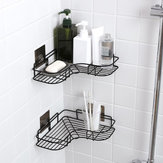 Black/White Nordic Simple Punch-free Wrought Iron Storage Rack Bathroom Kitchen Organizer