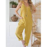 Vrouwen effen kleur String Double Pocket losse jumpsuits