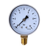 TS-60-10 1/4 Inch NPT Side Mount 10 Bar Metal Water Oil Air Compressor Pressure Gauge Manometer Pressure Measuring Tool