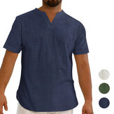 Linen Men's Short Sleeve Summer Cool Comfortable Shirt Tee Loose Tops Outdoor Hiking Holiday
