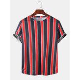 Herren Activewear Stripe Letter Print Kurzarm Sport T-Shirts