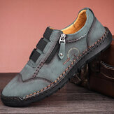 Hommes Microfibre Léger Couture À La Main Fermeture Éclair Latérale Soft Semelle Casual Chaussures Formelles D'affaires