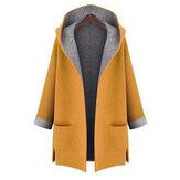 L-5XL Women Solid Color Autumn Winter Hooded Pockets Coats