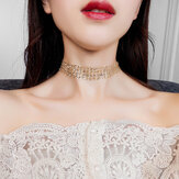 Fashion Choker Necklace Grenadine Mental Paillette