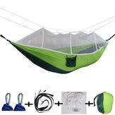 260x140cm Hamaca doble para mosquitos con personas cámping Cama colgante para jardín con mosquetones Almacenamiento Bolsa