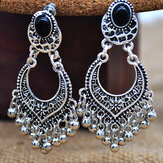 Bohemian Metal Hollow Tassel Pendant Earrings Ethnic Carved Bell Tassel Earrings