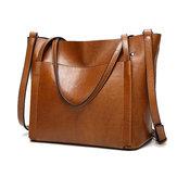 Kvinder Olie Læder Tote Håndtasker Vintage Skuldertasker Kapacitet Crossbody Tasker
