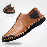 Chaussures décontractées à semelle confortable pour hommes en cuir de vache cousu à la main Soft