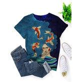T-shirt casual feminina com estampa de peixe com decote em O Plus tamanho casual