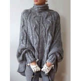 High Collar Long Bat Sleeve Knitting Elegant Sweater