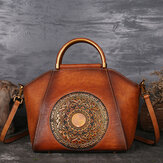 Women Genuine Leather Vintage Totem Designer Handbag
