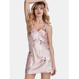 Satin Cranes Print Criss Cross Strappy Backless Sleepwear Mini camisón corto