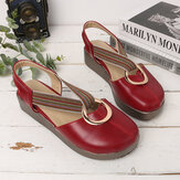 Women Casual Elastic Band Metal Hole Flats