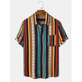 Мужские Винтаж Полосатый принт в этническом стиле с коротким рукавом Праздник Рубашка
