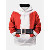 Heren kerstgedrukte drop-shoulder casual kangoeroezak-hoodies