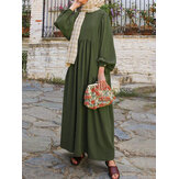 Women Retro Solid Puff Sleeve Hollow Out Collar Abaya Kaftan Pleated Maxi Dress