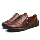 Menico Uomo Soft cuciture a mano Vera Pelle cerniera laterale slip on oxford