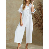 Women Solid Color V-neck Short Sleeve Cotton Jumpsuit