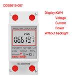 SINOTIMER DDS6619-007 Fase monofásica Fio LCD Display digital Wattímetro Consumo de energia Energia Medidor elétrico kWh AC 230V 50Hz Trilho elétrico Din
