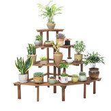 4 Tiers Wooden Plant Stand Flower Planter Pot Stand Shelf Bonsai Plant Storage Display Rack Stand for Patio Garden Home with 3 Pcs Garden Tools