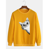 Mens Cute Cartoon Cat Print Long Sleeve Casual Pullover Cotton Sweatshirts