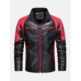Jaqueta de couro PU com bolso em patchwork de contraste masculino lavado para motocicleta