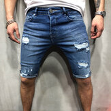 Men's Straight Denim Shorts Slim Comfortable Soft Casual Jeans with Hole Outdoor Camping Hiking