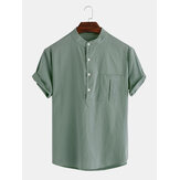 Mens Cotton Solid Color Chest Pocket Algodão Casual Henley Shirts