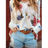 Women Floral Print V-Neck Knitted Casual Long Sleeve Sweaters