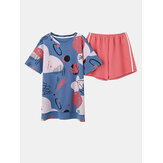 Cotton Short Sleeve O-Neck Tops With Shorts Pajama Set