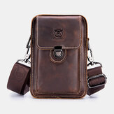 Bullcaptain Genuine Leather Retro Zipper Phone Bag Waist Bag Shoulder Bag