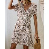 Bohemian Ruffle Wrap Animal Print Belted V-hals jurk met korte mouwen