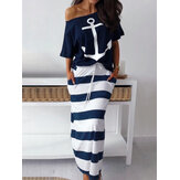 Stripe Off Shoulder Loose Drawstring Wasit Casual Two Pieces Sets