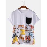 メンズファッションカジュアルバタフライプリントパッチワークポケットクルーネックTシャツ