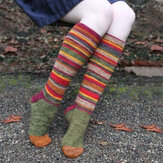 Women Cotton Color Stripe Pattern Casual Fashion Halloween Christmas Knee Socks Stockings