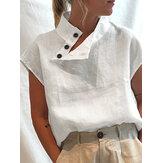 Mulheres cor sólida botão gola alta camisas de manga curta