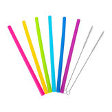 Újrafelhasználható szalma szett 6 db szilikon szalma itató szalma 6 egyenes szalma ecsettel