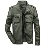 Mens Multi-Pocket-Frühling Herbst Solid Color Faux Lederjacke