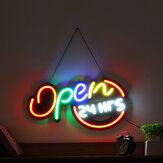 60x34cm Open 24Hrs Sign LED Neon Light Display Cafe Bar Club Wall Advertising Lamp Decor 110-240V