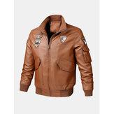 Мужская куртка из искусственной кожи с вышивкой и воротником-стойкой с несколькими карманами