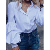Solid Color Turn-down Collar Long Puffs Sleeve Blouse For Women