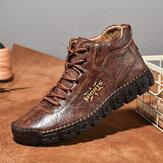 Мужская ручная вышивка из микрофибры на шнуровке Soft Повседневная лодыжка Ботинки