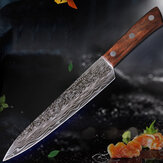 9 Inch Damascus High Chrome Stainless Steel Knife Large Wave Pattern Color Wood Handle